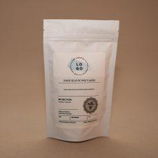 Bela vrečka - zgornji del etikete + personalizirano ime in opis kave