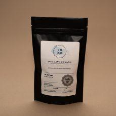 Črna vrečka - zgornji del etikete + personalizirano ime in opis kave